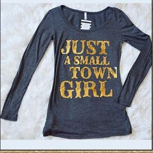 Tops - 'Small Town Girl' Charcoal Grey Top